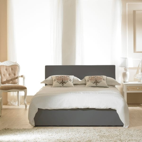 Madrid Faux Leather Ottoman Bed Grey