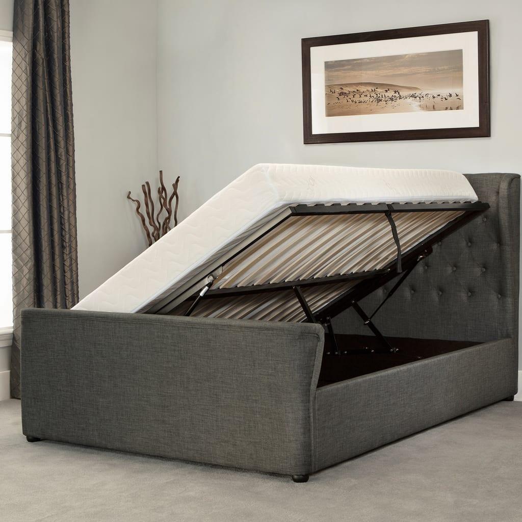 Manhattan Wing Sleigh Ottoman Bed Grey