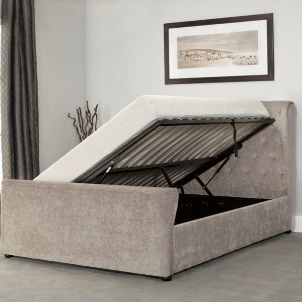 Manhattan Wing Sleigh Ottoman Bed Stone