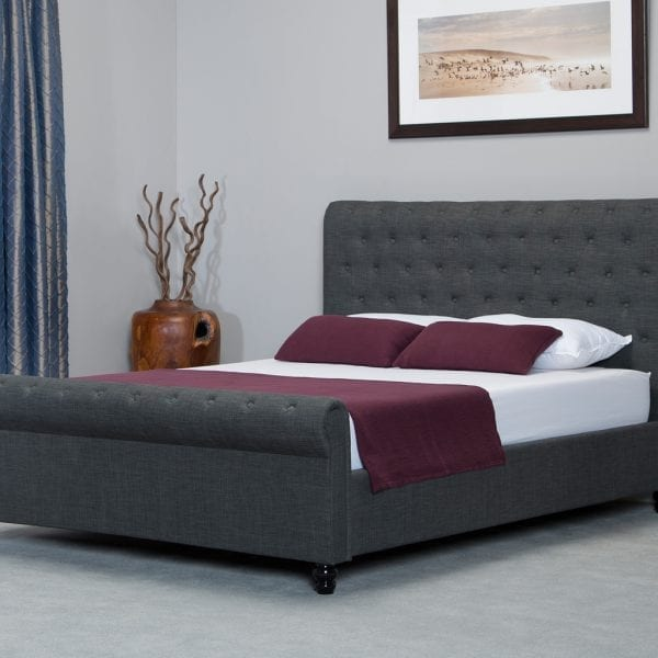 Oxford Scroll Ottoman Bed Grey