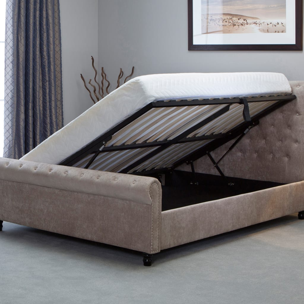Oxford Scroll Ottoman Bed Stone