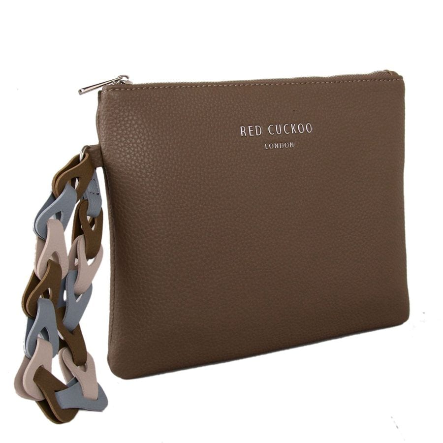 Taupe Clutch Bag With Contrast Wrist Strap