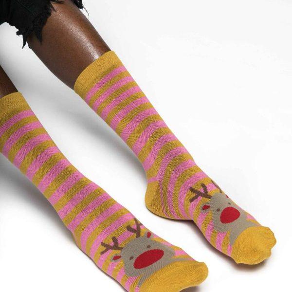 Mustard Rudolph Socks
