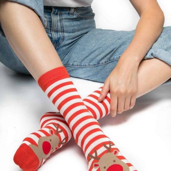 Red Rudolph Socks