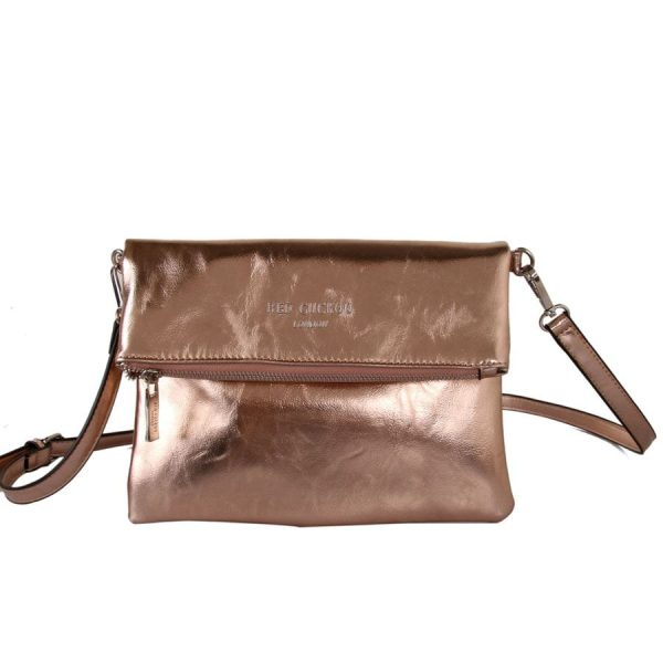 Rose Gold Fold Over Clutch Bag