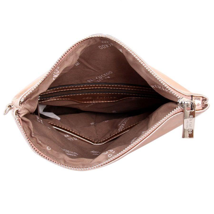 Rose Gold Fold Over Clutch Bag