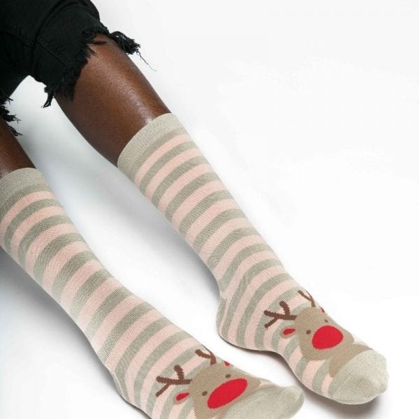 Silver Rudolph Socks