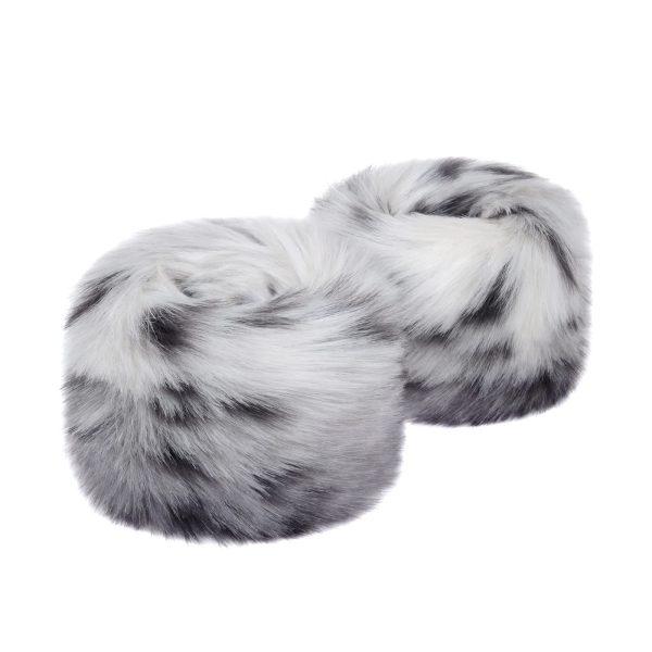 Arctic Leopard Faux Fur Wrist Warmers