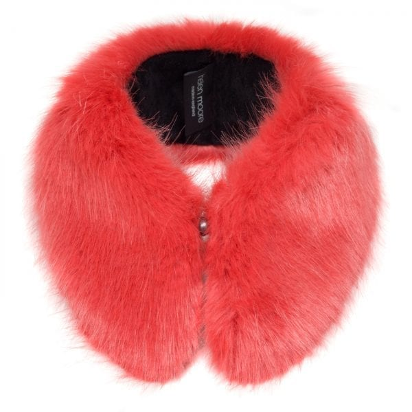 Coral Faux Fur Shirt Collar