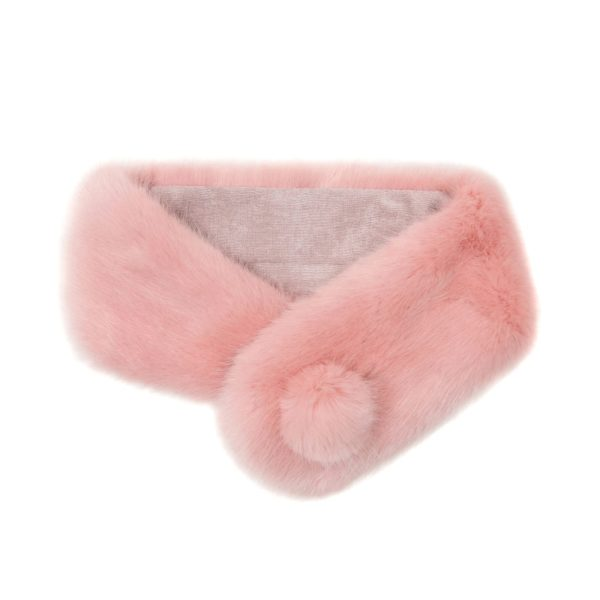 Dusky Faux Fur Pom Button Collar