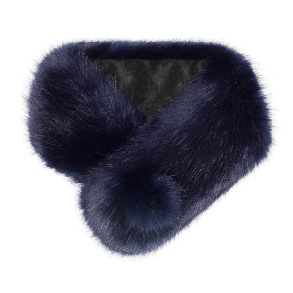 Midnight Faux Fur Pom Button Collar