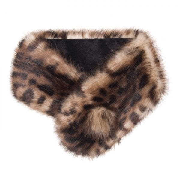 Ocelot Faux Fur Pom Button Collar
