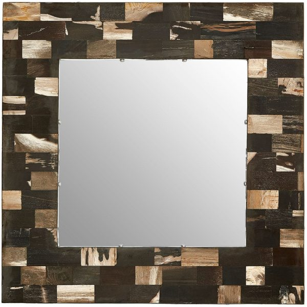 Basilica Square Petrified Wood Wall Mirror
