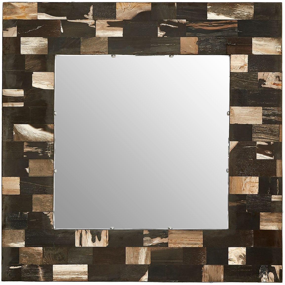 Basilica Square Petrified Wood Wall Mirror
