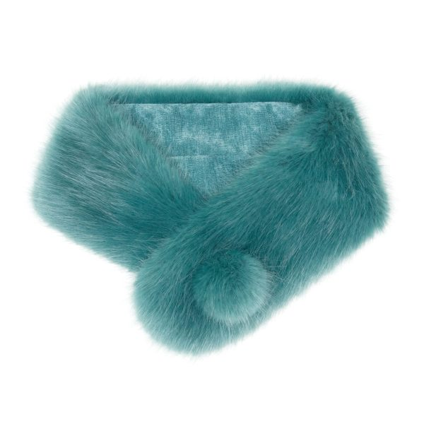 Sea Green Faux Fur Pom Button Collar