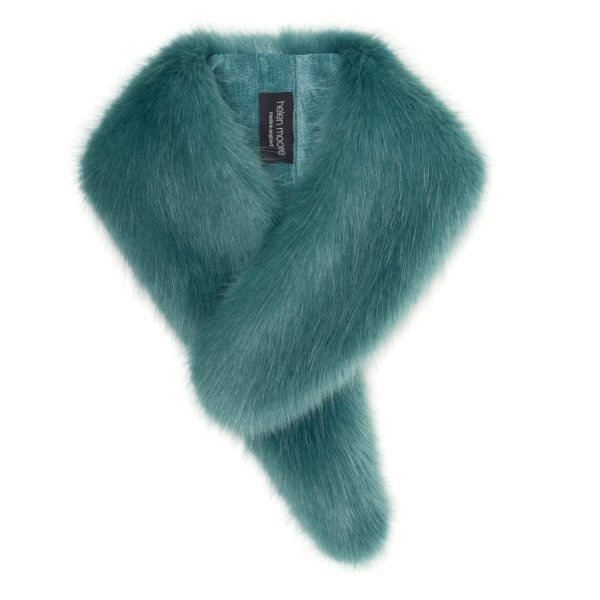 Sea Green Faux Fur Vintage Collar