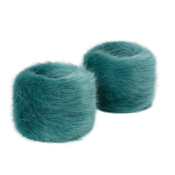 Sea Green Faux Fur Wrist Warmers