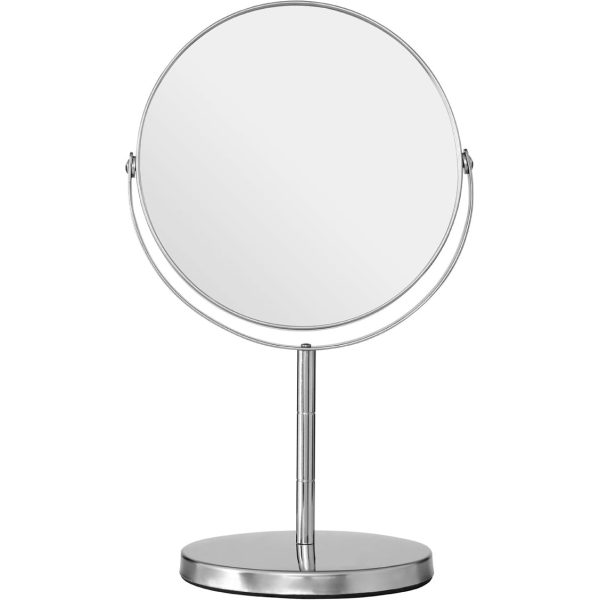 Silver Effect Metal Swivel Table Mirror