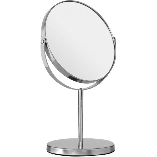 Silver Effect Metal Swivel Table Mirror