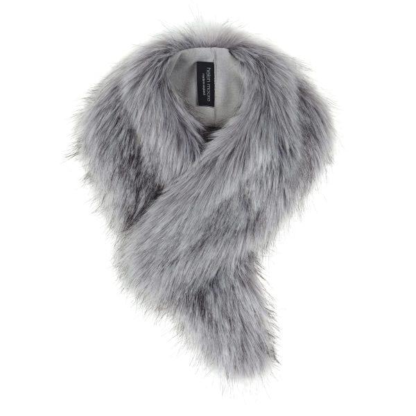 Silver Faux Fur Vintage Collar