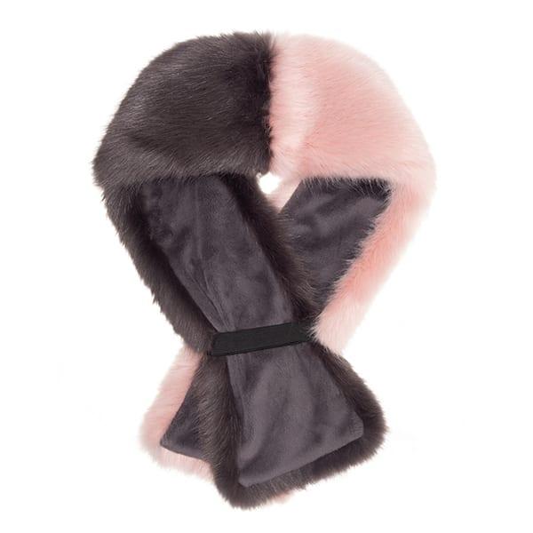 Steel & Dusky Faux Fur Two Tone Tippet Scarf