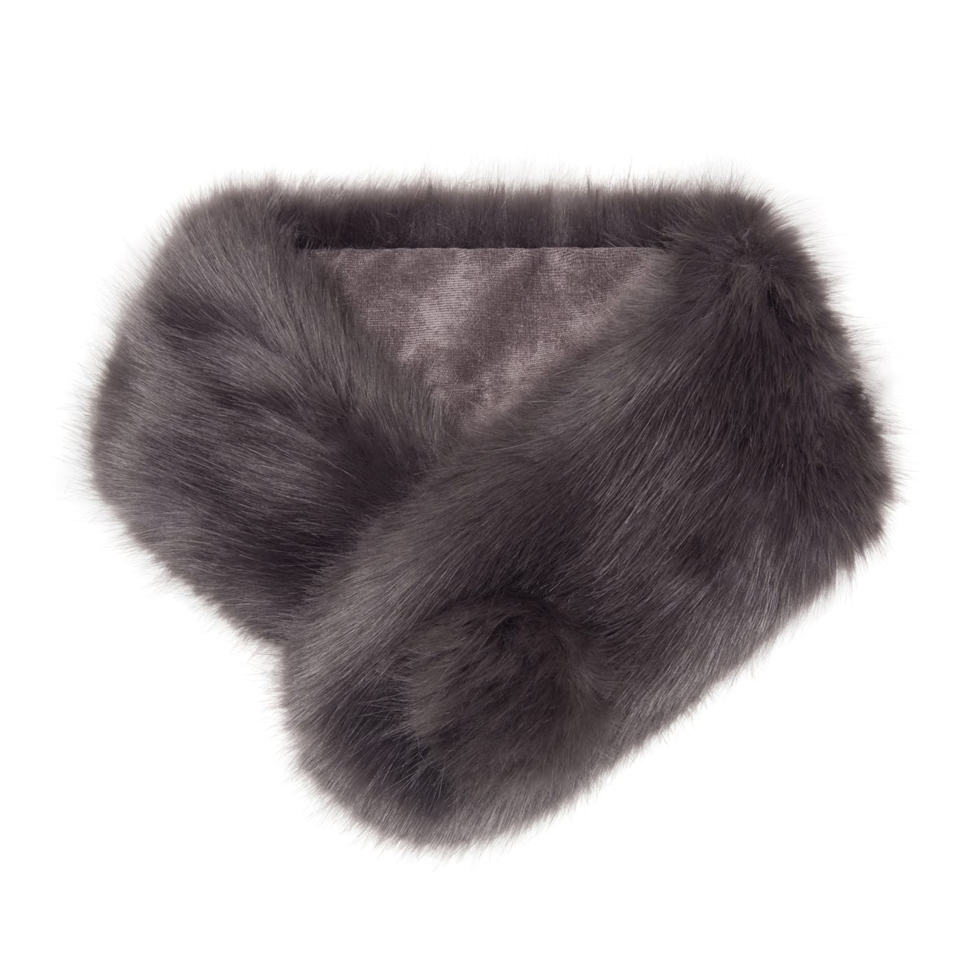 Steel Faux Fur Pom Button Collar