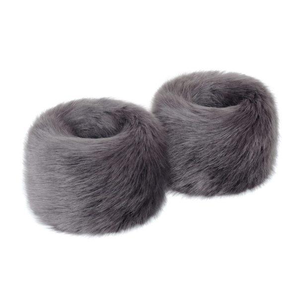 Steel Faux Fur Wrist Warmers