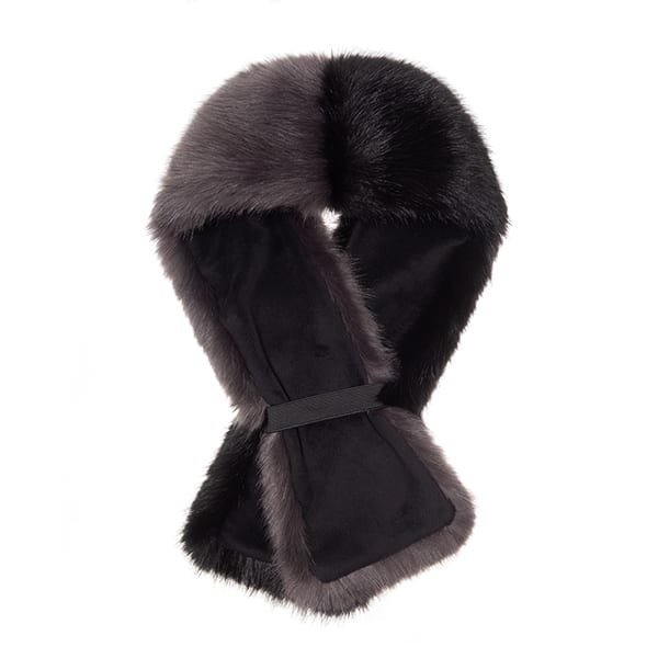 Steel & Jet Faux Fur Two Tone Tippet Scarf