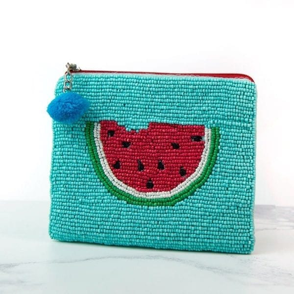 Aqua Watermelon Beaded Purse