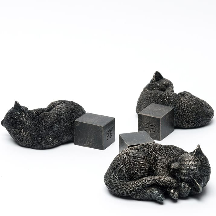 Bronze Sleeping Cat Curled Up Set of 3