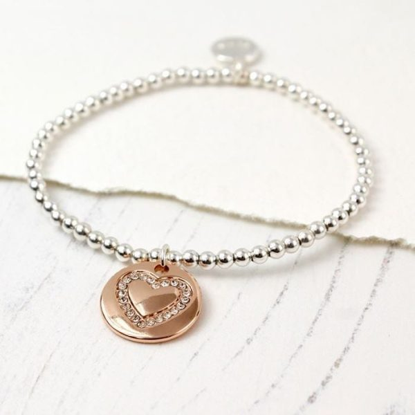 Crystal Heart & Rose Gold Disc Bracelet