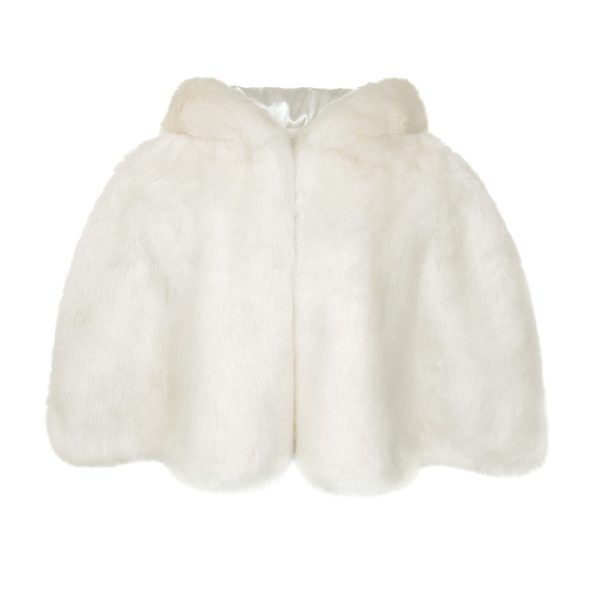 Ermine Faux Fur Hooded Cape