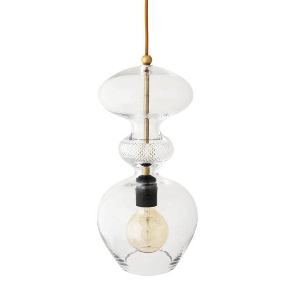 Futura Pendant Lamp, Crystal w Gold, 37cmH