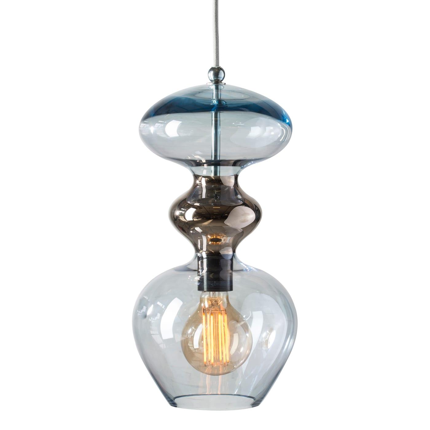 Futura Pendant Lamp, Topaz Blue/Platinum, 37cmH