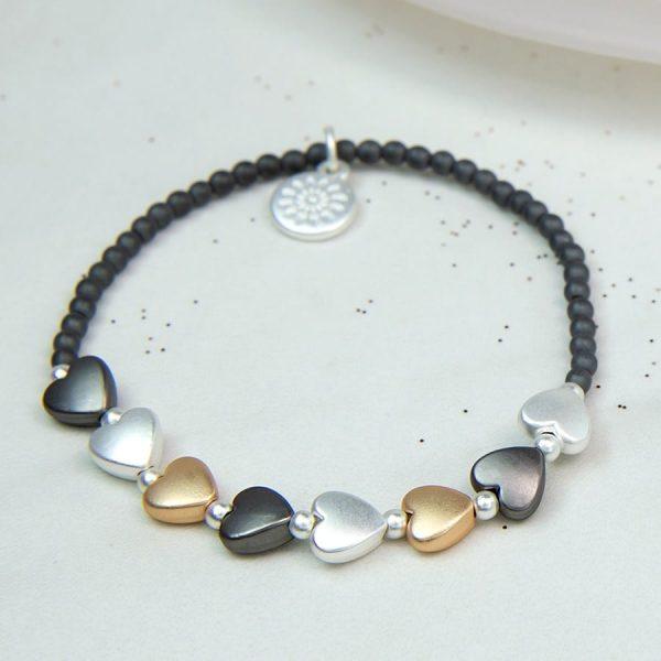 Grey Bead Mixed Metallic Heart Bracelet