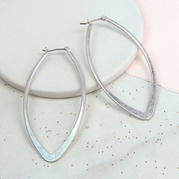 Large Silver Plated Worn Marquise Earrings