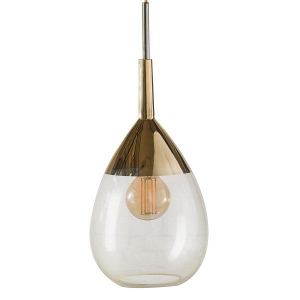 Lute Pendant Lamp, Alabaster / Gold, 49cmH