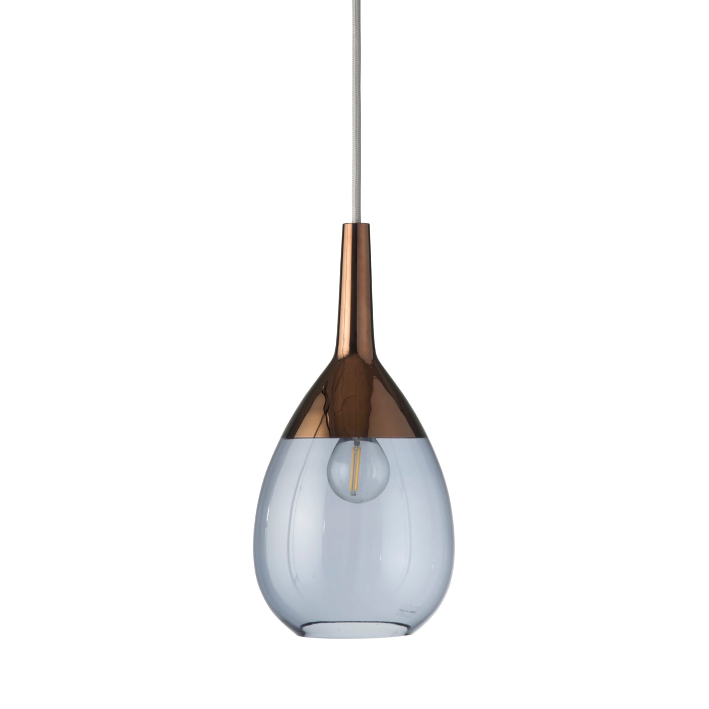 Lute Pendant Lamp, Blue / Copper, 27cmH