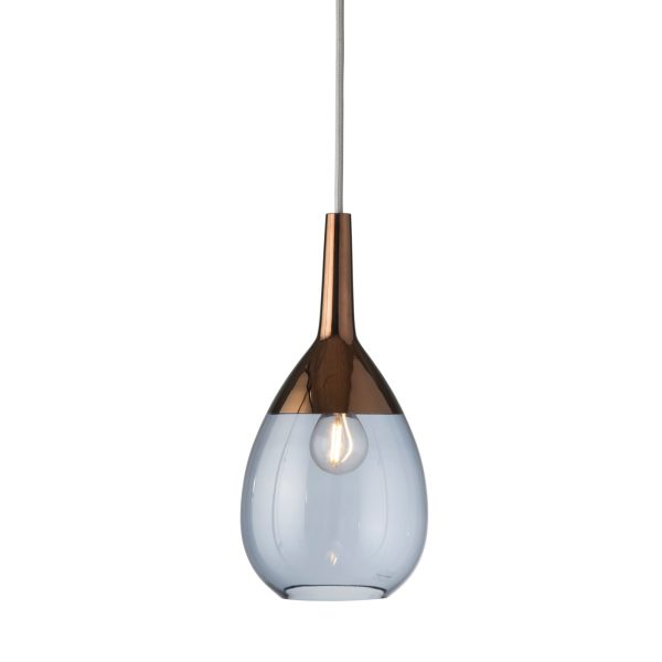 Lute Pendant Lamp, Blue / Copper, 27cmH