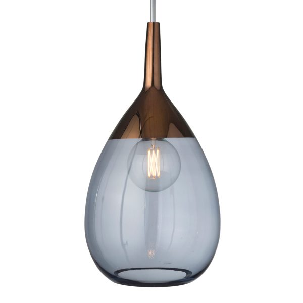 Lute Pendant Lamp, Blue / Copper, 70cmH