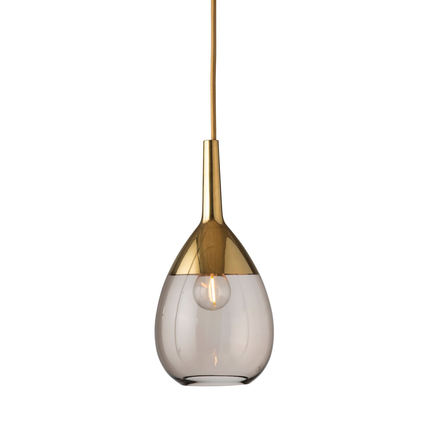 Lute Pendant Lamp, Chestnut Brown / Gold, 27cmH