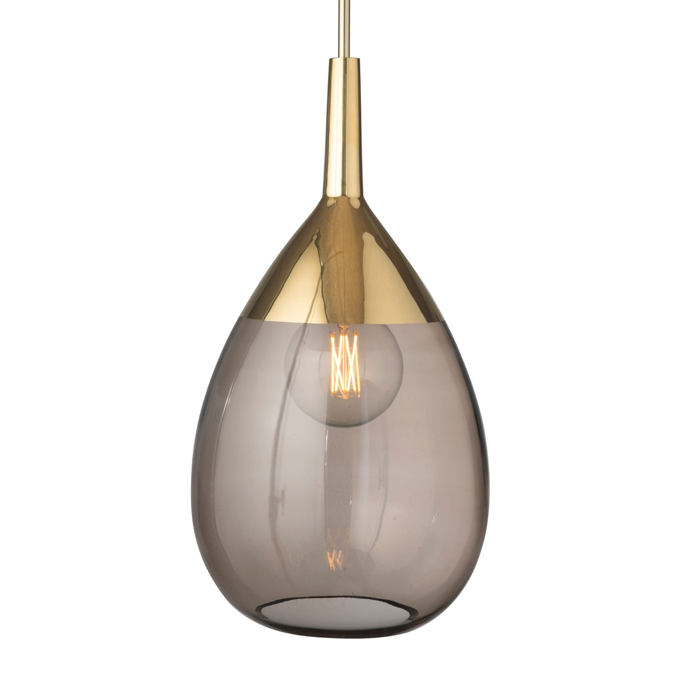 Lute Pendant Lamp, Chestnut Brown / Gold, 70cmH