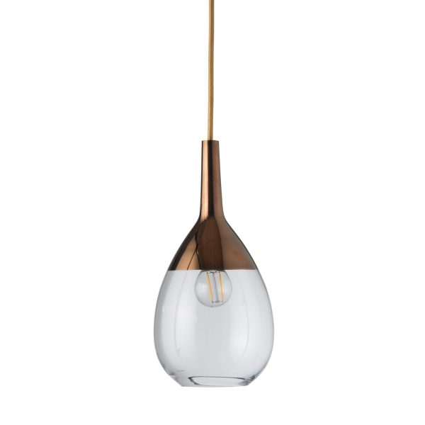 Lute Pendant Lamp, Clear / Copper, 27cmH