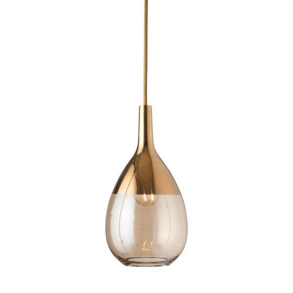 Lute Pendant Lamp, Golden Smoke / Gold, 27cmH