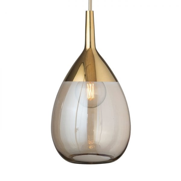 Lute Pendant Lamp, Golden Smoke / Gold, 70cmH