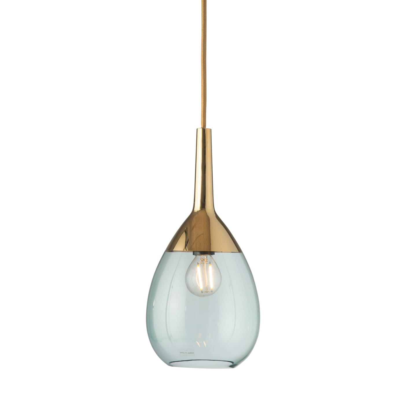 Lute Pendant Lamp, Green / Gold, 27cmH