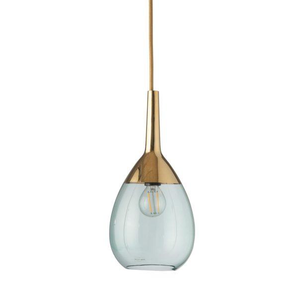 Lute Pendant Lamp, Green / Gold, 27cmH