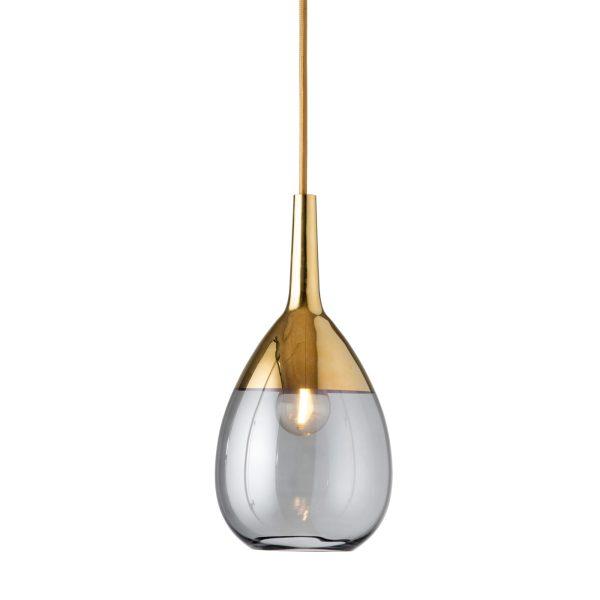 Lute Pendant Lamp, Smokey Grey / Gold, 27cmH