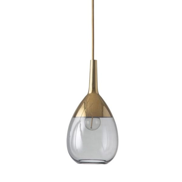 Lute Pendant Lamp, Smokey Grey / Gold, 27cmH