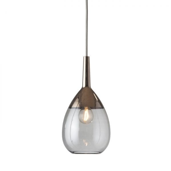 Lute Pendant Lamp, Smokey Grey / Platinum, 27cmH